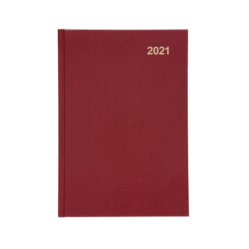 5 Star Office 2021 Diary Day to Page Casebound and Sewn Vinyl Coated Board A5 210x148mm Red