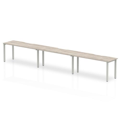 Trexus Bench Desk 3 Person Side to Side Configuration Silver Leg 4800x800mm Grey Oak Ref BE775