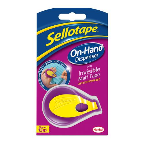 Sellotape On Hand Invisible Dispenser 18mmx15m Matt White Ref 2379004