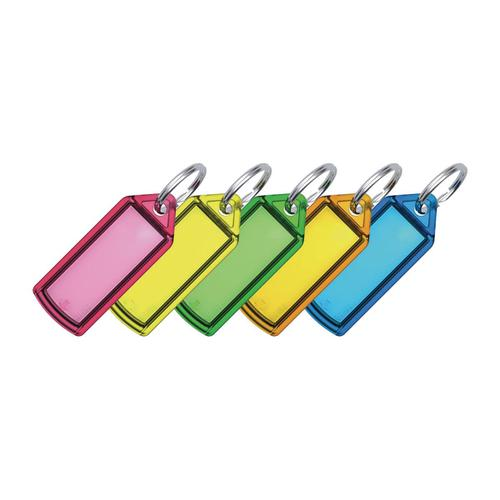 5 Star Facilities Sliding Key Fob Coloured Label Area 38x22mm 20mm Ring Assorted [Pack 100] by The OT Group, 166984