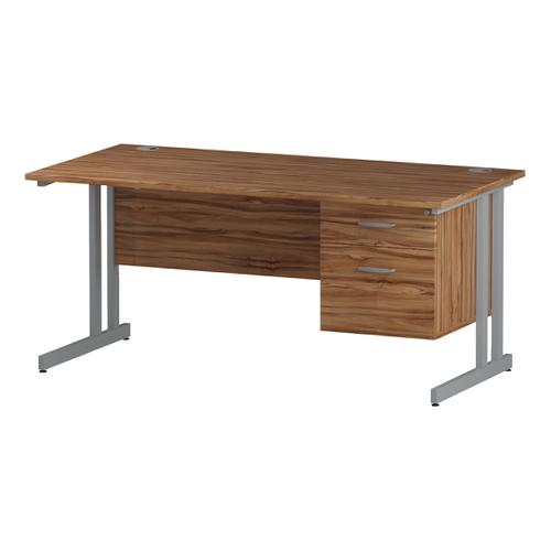 Trexus Rectangular Desk Silver Cantilever Leg 1600x800mm Fixed Pedestal 2 Drawers Walnut Ref I001921