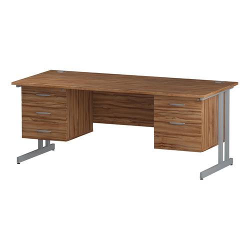 Trexus Rectangular Desk Silver Cantilever Leg 1800x800mm Double Fixed Ped 2&3 Drawers Walnut Ref I001954