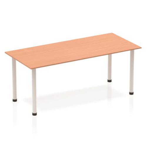 Sonix Rectangular Silver Post Leg Table 1800x800mm Beech Ref BF00169