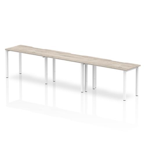 Trexus Bench Desk 3 Person Side to Side Configuration White Leg 3600x800mm Grey Oak Ref BE772