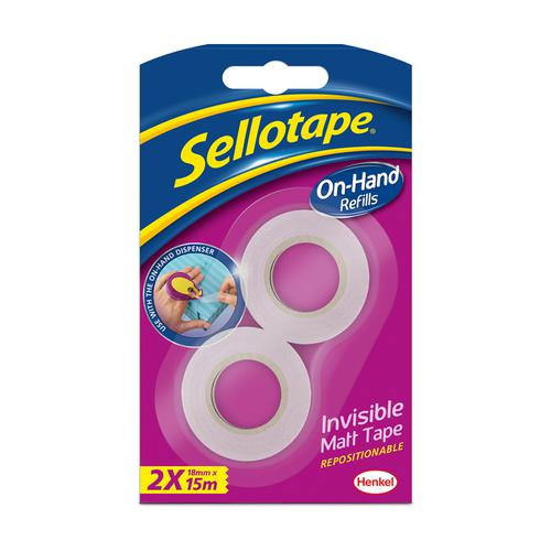 Sellotape On Hand Invisible Twin Refills 18mmx15m Matt White Ref 2379006