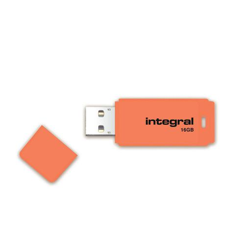 Integral Neon USB Drive 2.0 Capacity 16GB Orange Ref INFD16GBNEONOR