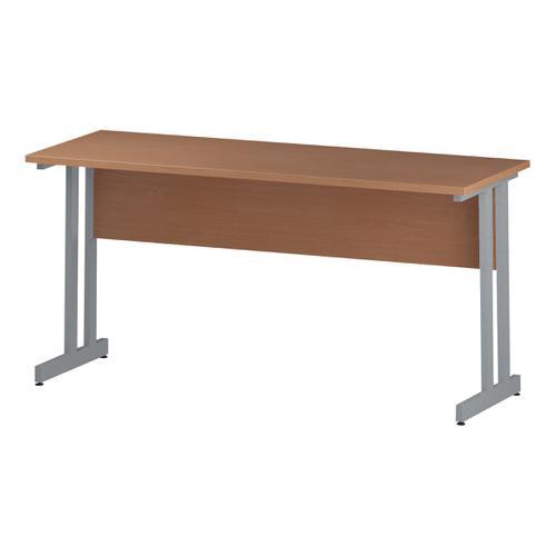 Trexus Rectangular Slim Desk Silver Cantilever Leg 1600x600mm Beech Ref I001681