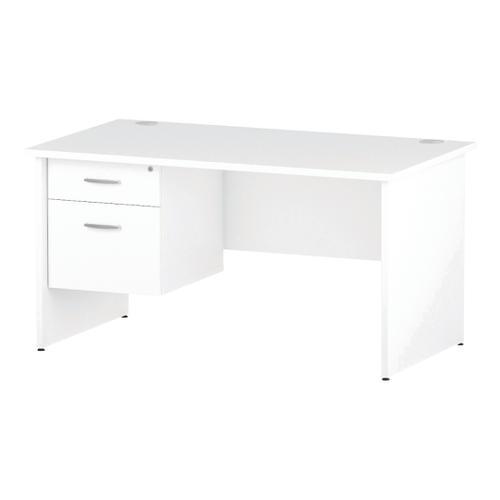 Trexus Rectangular Desk Panel End Leg 1400x800mm Fixed Pedestal 2 Drawers White Ref I002251