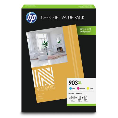 Hewlett Packard [HP] No.903XL IJValuePk HYPageLife 825pp 9.5ml Cyan/Magenta/Yellow&Paper 1CC20AE [Pack 3]