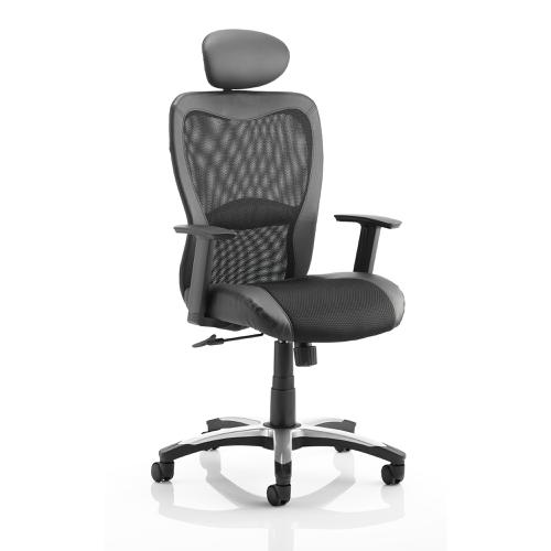Trexus Victor II Executive Chair With Arms With Headrest Leather Black Mesh Black Ref KC0160