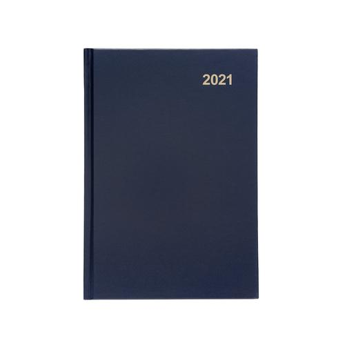 5 Star Office 2021 Diary Week to View Casebound and Sewn Vinyl Coated Board A5 210x148mm Blue