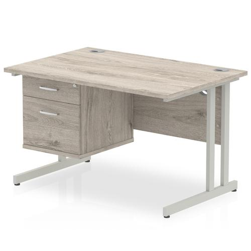 Trexus Rectangular Desk Silver Cantilever Leg 1200x800mm Fixed Ped 2 Drawers Grey Oak Ref I003436