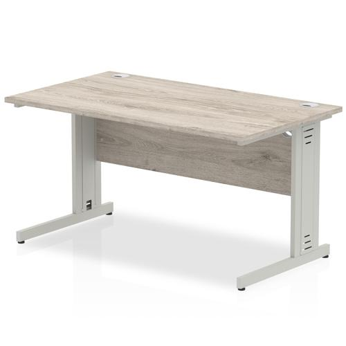 Trexus Rectangular Desk Silver Cable Managed Leg 1400x800mm Grey Oak Ref I003102