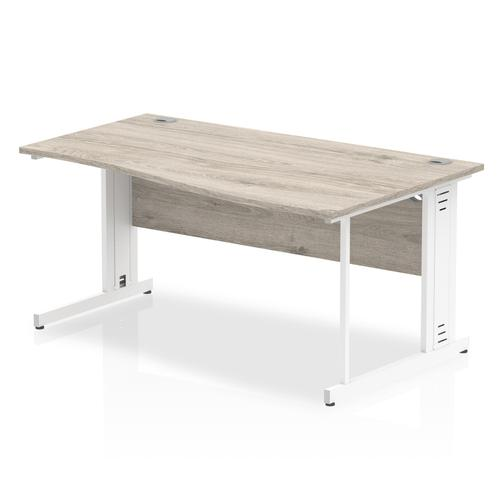 Trexus Wave Desk Right Hand White Cable Managed Leg 1600mm Grey Oak Ref I003129