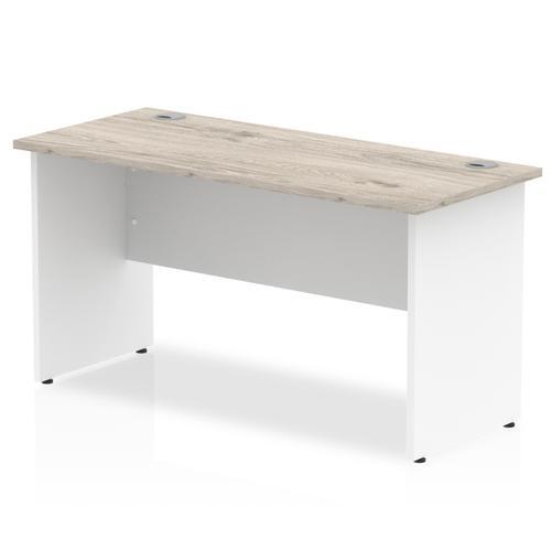 Trexus Slim Rectangular Desk Panel End Leg 1400x600mm Grey Oak/White Ref TT000150