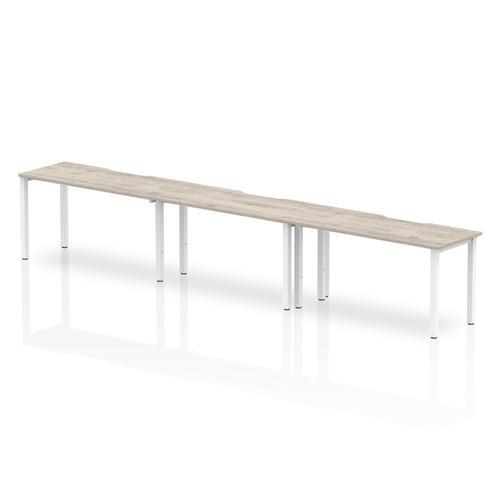 Trexus Bench Desk 3 Person Side to Side Configuration White Leg 4200x800mm Grey Oak Ref BE774
