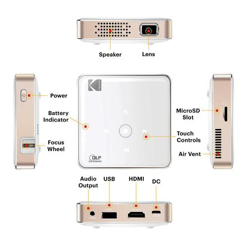 Kodak Luma 75 Portable LED Pocket Projector 75 Lumens Projects Up To 100inch Screen Ref RODPJS75WH