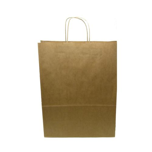 Kraft Paper Carrier Bag Twisted Handles Large 320x420x150mm 100g Natural Brown Ref 12933 [Pack 100]