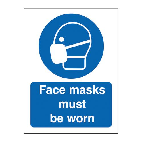 Face Masks Must Be Worn Sign , 200 x 300mm , Semi Rigid Plastic