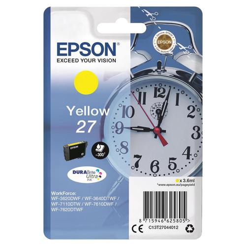 Epson 27 Inkjet Cartridge Alarm Clock Page Life 300pp 3.6ml Yellow Ref C13T27044012