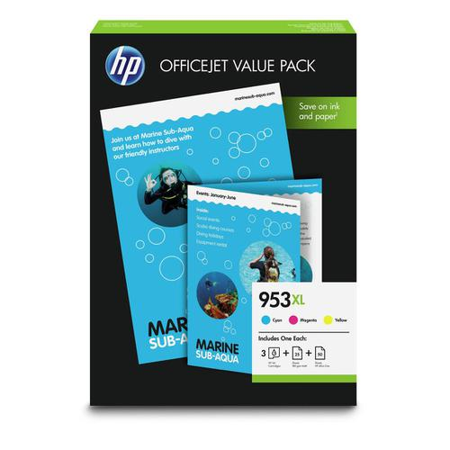 Hewlett Packard [HP] No.953XL Inkjet Carts HY Page Life 1600pp 20ml Cyan/Magenta/Yellow 1CC21AE [Pack 3]