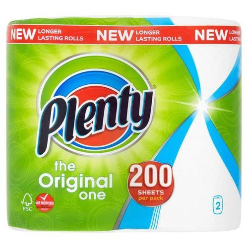 Plenty Double Kitchen Roll 100 Sheet Roll Ref BOUNTYN [Pack 2]