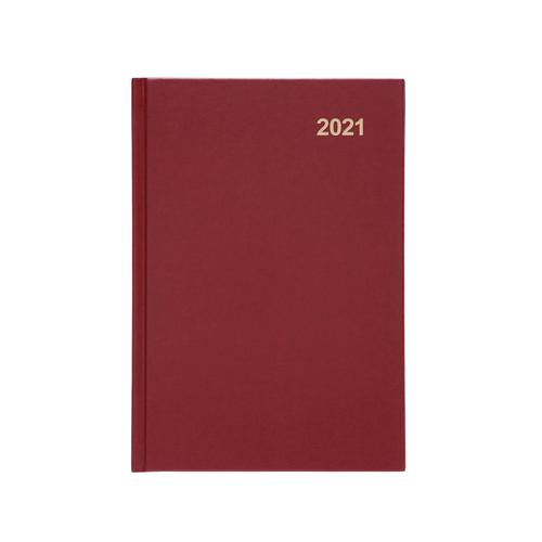 5 Star Office 2021 Diary Week to View Casebound and Sewn Vinyl Coated Board A5 210x148mm Red