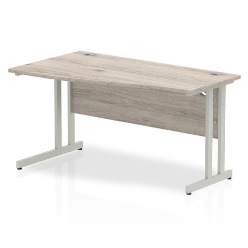 Trexus Wave Desk Left Hand Silver Cantilever Leg 1400mm Grey Oak Ref I003118