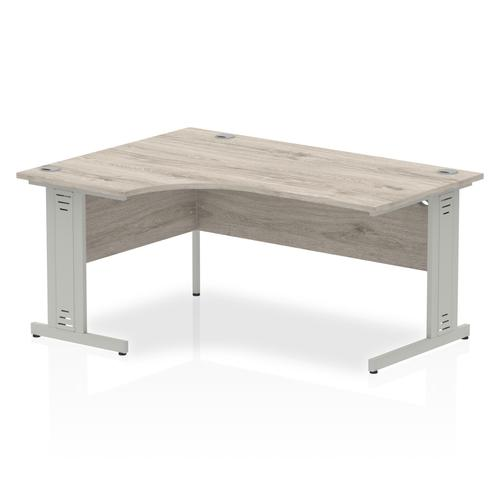 Trexus Radial Desk Left Hand Silver Cable Managed Leg 1600mm Grey Oak Ref I003145