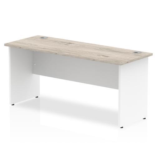 Trexus Slim Rectangular Desk Panel End Leg 1600x600mm Grey Oak/White Ref TT000151