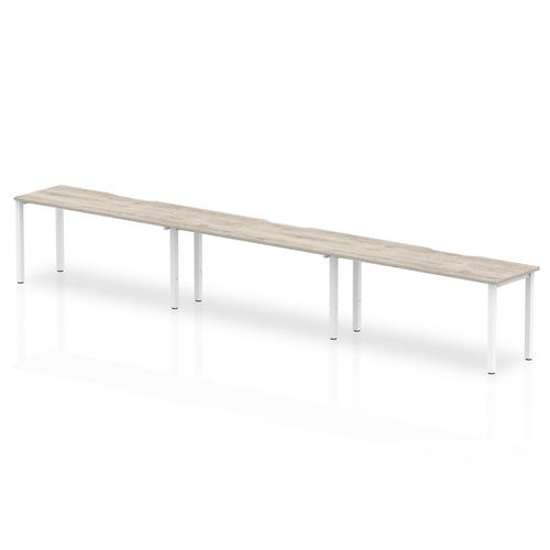 Trexus Bench Desk 3 Person Side to Side Configuration White Leg 4800x800mm Grey Oak Ref BE776