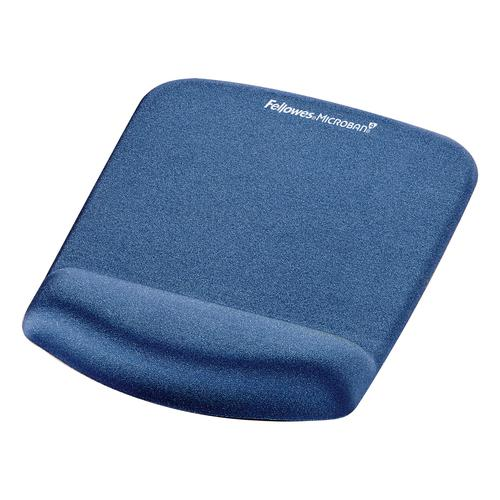 Fellowes PlushTouch Mousepad Wrist Support Blue- Microban 9387302