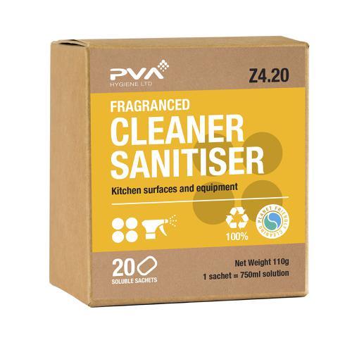 PVA Cleaner Sanitiser Kitchen Surface & Equipment Sachets Ref 4017990 [Pack 20]