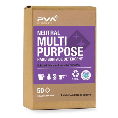 PVA Neutral Multi-purpose Hard Surface Detergent Sachets Ref PVA A2.55 [50 Sachets]