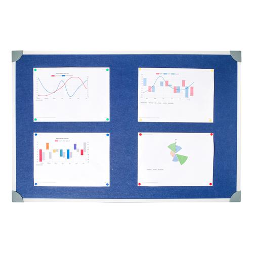 5 Star Office Felt Noticeboard with Fixings and Aluminium Trim W900xH600mm Blue by The OT Group, 171617
