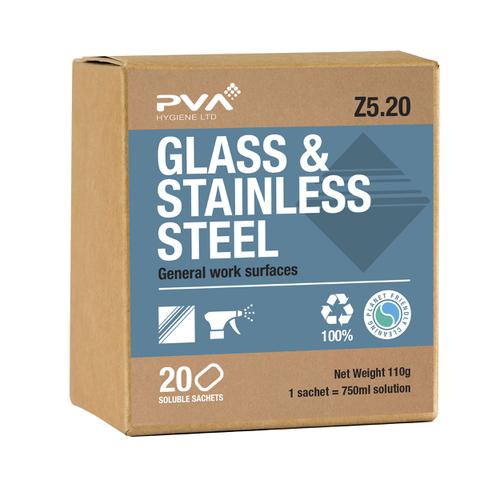 PVA Glass & Stainless Steel Cleaner Sachets Ref 4018018 [Pack 20]