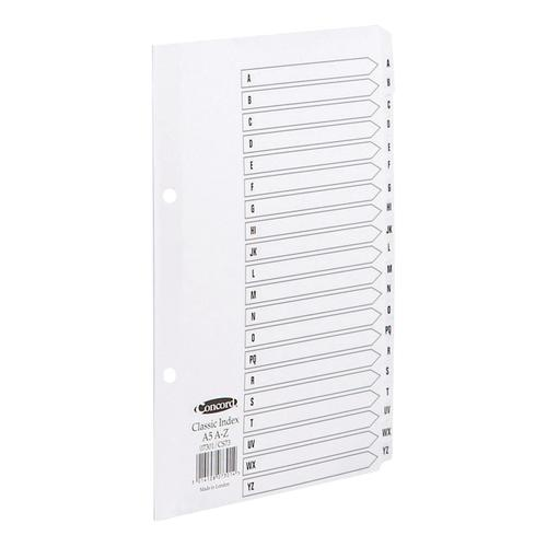 Concord Classic Index A-Z 20-Part Mylar-reinforced Punched 2 Holes 150gsm A5 White Ref 07301/CS73