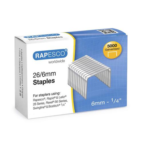 Rapesco Staples 26/6mm Ref S11662Z3 [Pack 5000]