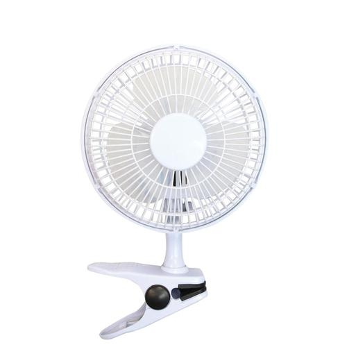 5 Star Facilities Clip-On Fan 6 Inch with Tilt for Desk or Shelf 2-Speed 1.25-1.3m Cable Dia.152mm White by The OT Group, 204001