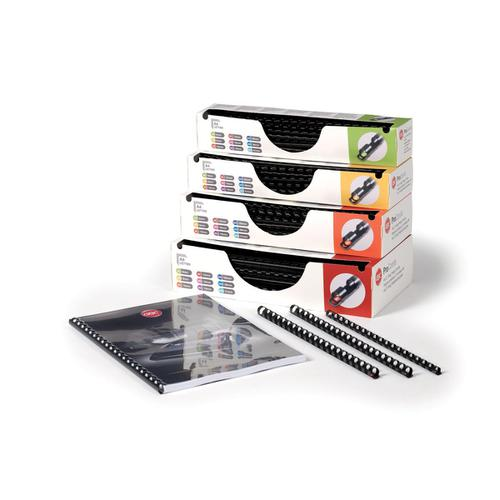 GBC Pro Binding Combs Plastic 8mm for 45 Sheets of A4 Black Ref 4400321 [Pack 100]