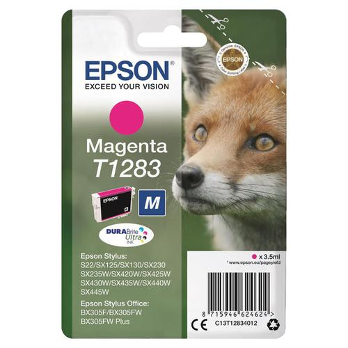 Epson T1283 Inkjet Cartridge Fox Page Life 150pp 3.5ml Magenta Ref C13T12834012