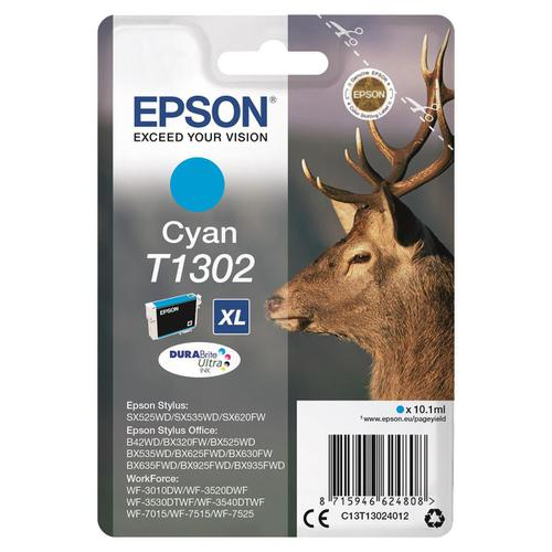 Epson T1302 Inkjet Cartridge Stag XL Page Life 765pp 10.1ml Cyan Ref C13T13024012