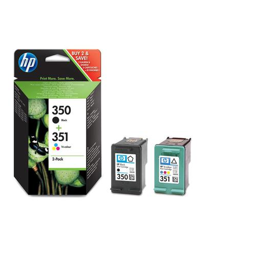 Hewlett Packard [HP] No.350&351 Ink Cart PageLife200pp4.5mlBlack/170ppTri-Colour3.5ml]Ref SD412EE[Pack 2]