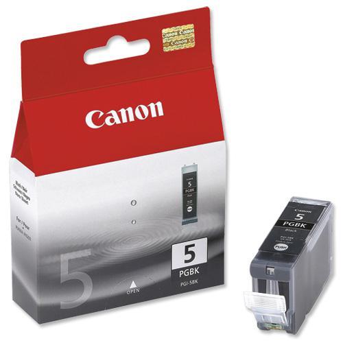 Canon PGI-5BK Inkjet Cartridge Page Life 505pp 26ml Black Ref 0628B025 [Pack 2]