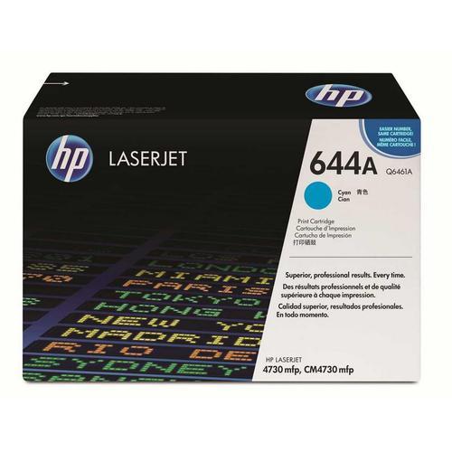 Hewlett Packard [HP] No. 644A Laser Toner Cartridge Page Life 12000pp Cyan Ref Q6461A