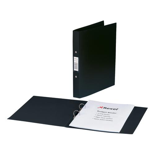 Rexel Budget Ring Binder Semi-rigid Polypropylene 2 O-Ring 25mm Size A4 Black Ref 13422BK [Pack 10]