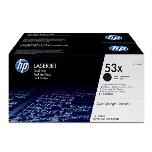 HP 53X Laser Toner Cartridge Page Life 7000pp Black Ref Q7553XD [Pack 2]