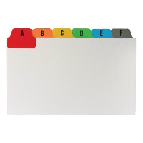5 Star Office Guide Card Set A-Z Reinforced 5x3in 127x76mm White with Tabs Multicoloured