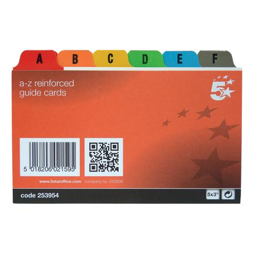5 Star Office Guide Card Set A-Z Reinforced 5x3in 127x76mm White with Tabs Multicoloured by The OT Group, 253954