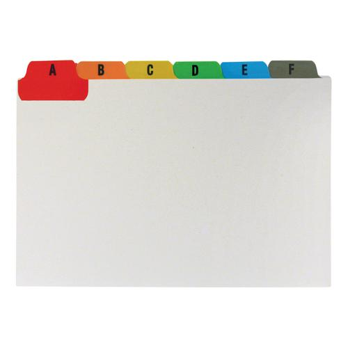 5 Star Office Guide Card Set A-Z Reinforced 6x4in 152x102mm White with Tabs Multicoloured by The OT Group, 253962